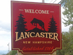 Welcome sign for Lancaster NH